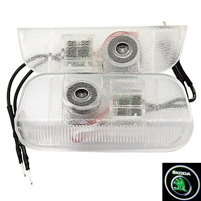2Skoda Logo LED Welcome Projector Courtesy Ghost Shadow Light Lamp Bulb no drill