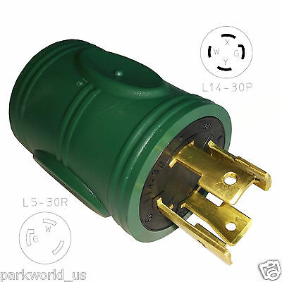 Parkworld 884913 Generator Adapter twist lock 30A L14-30P Male to L5-30R Female