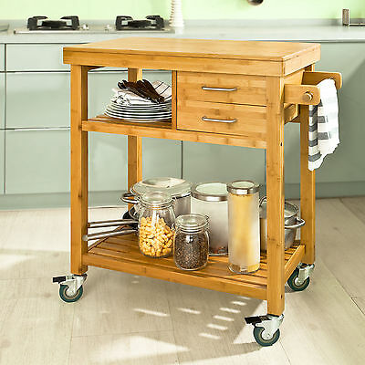 SoBuy® Bamboo Kitchen Trolley with Drawers Shelves Towel Paper Holder,FKW26-N,UK