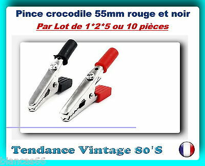 *** Lot De 1*2*5 Ou 10 Pinces Crocodile 55Mm / 8A - Enfichable En 4Mm ***