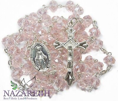 Light Pink Crystal Beads Rosary Catholic Necklace Miraculous Medal & Crucifix