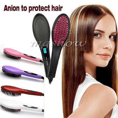 UK Plug New Fast Hair Straightener Simple Electric Comb Brush Hairstyling Tools