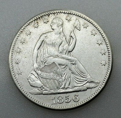 Usa Seated Liberty 1856 Half Dollar 50 Cents Silver Coin Vf/vf+