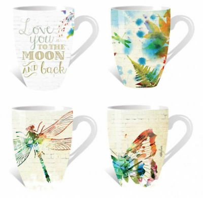 Coffee Mug Dragonfly Butterfly Garden Tea Cup  Ceramic Cups Mugs *Set of 4* 3737