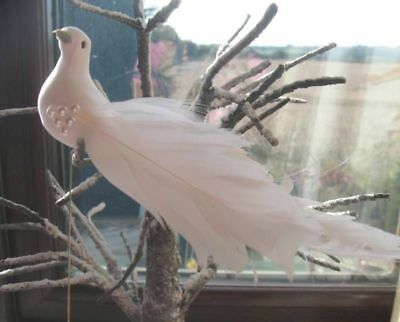 Artificial White Feather Dove -Curled Goose Feather, Pearls & Iridescent Strands