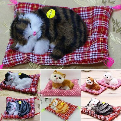 2016 Simulation Animal Doll Plush Sleeping Cats Toy with Sound Lovely Stuffed LD