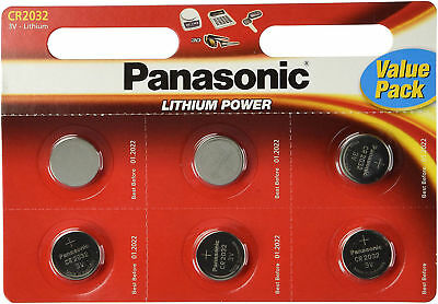 6 x Panasonic CR2032 Batteries Lithium 3V Button Coin Cell Battery 2032 DL 2032