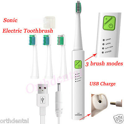 Sonic Electric Toothbrush USB Charge Rechargeable 3 Cleaning Modes U1 4 Heads