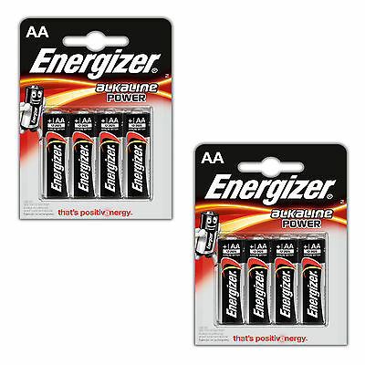 8 x AA Energizer Alkaline Batteries AM3 LR06  Power + Seal Mignon Stilo
