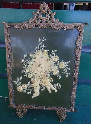 Antique Victorian Celluloid Cherubs Angles Cameo Folding Vanity Mirror
