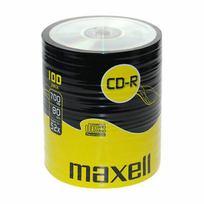 100 CDR 80 MAXELL BLANK CD-R RECORDABLE CD 700 MB-80 MIN 52x Cello WRAP