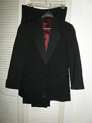 "Tuxedo Blk Lt wt Wool 39R Jacket 32"" sleves and 34"" waist Pants Exc Co Youth/Men"