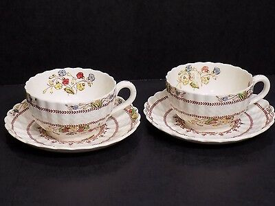 Copeland Spode COWSLIP 4 Piece / 2 Pairs Tea Cups and Saucers England