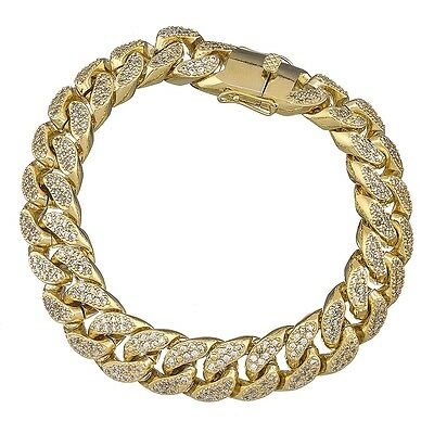 11 mm 9 inch Gold Finish Miami Curb Cuban Iced Out Men's CZ Bracelet