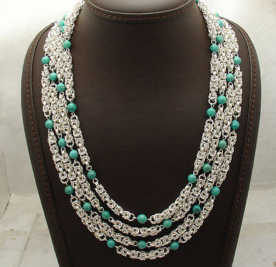 """18"""" Byzantine Chain Genuine Turquoise Gemstone Necklace REAL Sterling Silver"""