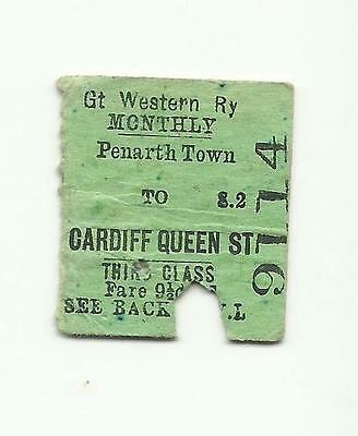 GWR ticket, Penarth Town to Cardiff Queen Street