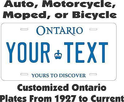 Ontario Tag  Personalized Auto Car Motorcycle Moped Bike Bicycle License plate