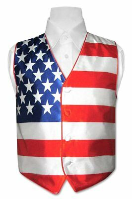 BOY'S Dress Vest American Flag Design Red White and Blue for Suit or Tux Size 8