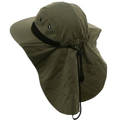 b1aefb0dee4fd Mens Bucket Hat with Neck Cover - Adjustable One Size - Khaki Navy White  Olive