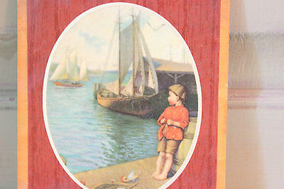 Vintage Picture Wooden Laminated Fishing Village Scene Boy with Sailboat Wood