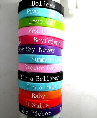 15pcs JB belieber Justin bieber girls  fans music songs Bracelets wristband