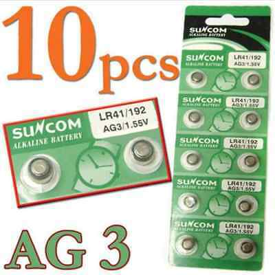 10PCS 1.55V AG3 SG3 LR41 192 Alkaline coin Button coin Cell Battery Suncom FT