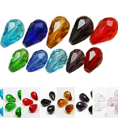 Hot 20Pc Faceted Teardrop Shiny Crystal Loose Spacer Beads 8x12/16x10mm Jewelry