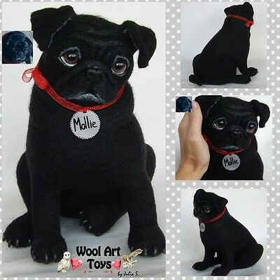 Custom Needle Felted Dog Black Pug Sculpture Wool animal Pet replica wool art