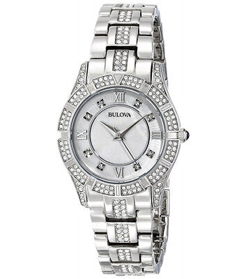 Bulova Women's Swarovski Crystal-Accented Silver Band Pearl Dial Watch 96L116