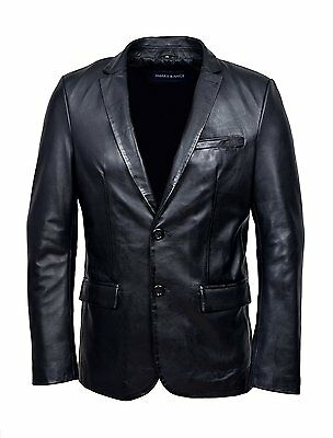 Men's CLASSIC BLAZER Black Z120 Tailored Soft Real Napa Leather Jacket Coat