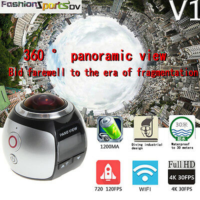 4K 360° Wifi Panoramic Camera Ultra HD 1080P Sports Action Camera Camcorder UK
