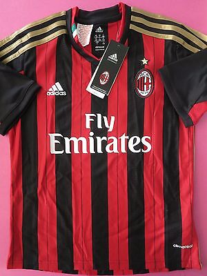 Bnwt Ac Milan 2013-14 Home Football Soccer Shirt Jersey Youth Boys Sizes
