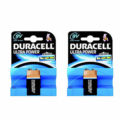 2 x Duracell 9V PP3 Ultra Power Alkaline Batteries LR22, MN1604, 6LR61, MX1604