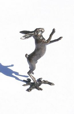 Hare Boxing Solid Bronze Miniature Sculpture Butler and Peach Boxed ( 2041)