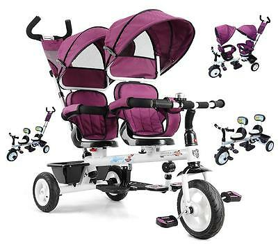 Reversible Double Seat Tandem Tricycle Toddler Kid Pram Stroller Ride on Trike