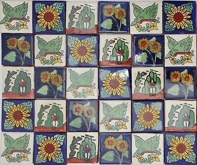 Pack of 50 Assorted Mexican Handmade 5cm Tiles: México Naturaleza