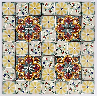 Pack of 50 Assorted Mexican Handmade 5cm Tiles: Los Florals