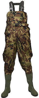Size 11 Camouflage/Camo Waterproof Chest Waders For Fly Fishing With Belt