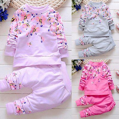 2PCS Toddler Kids Baby Girls Outfits Long Sleeve Hooded Tops +Pants Clothes Set