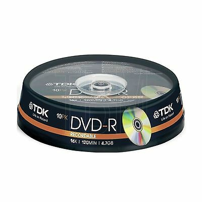 10 TDK DVD-R 4.7GB 10 spindle 120 mins DVDR T19415 10 pack