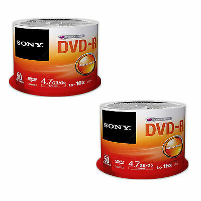100 Sony DVD-R 120Min DVD Recordable 4.7GB For Video & Data (16x)