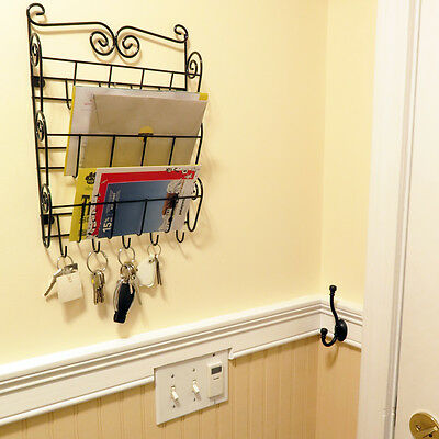 Evelots 3 Tier Mail & Letter Organizer Wall Mount, Key Organizer, 1 Letter Rack