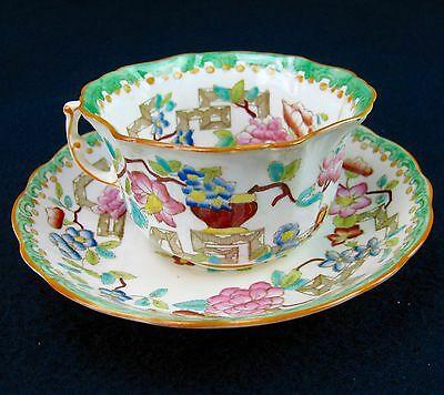Vintage Hammersley English Bone China Asian Design, Urn, Pink Flowers Green Trim