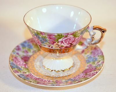 Made Japan Tea Cup and Saucer Set Collectible Pink Roses Gold Trim Shabby Chic