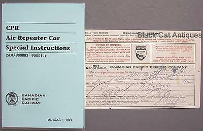 1999 CPR Railway Air Repeater Car Special Instructions & CP Express Receipt 1941