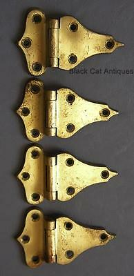 Original Vintage Brass Heavy-Duty Ice Box Hinges - Set Of Four