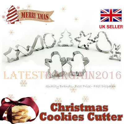 Christmas Cutter Mould Stainless Steel Biscuit Cookie  Decorating Set Of 10 UK