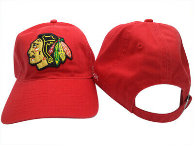 brand new 34984 6b681 Chicago Blackhawks Reebok NHL Slouch Red Adjustable Hat Cap OSFA