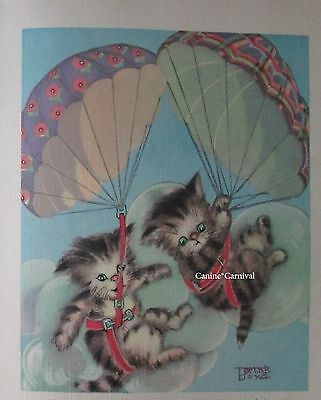 2 KITTENS Parachuting Skydiving ADORABLE CAT KITTY VINTAGE Art Print 1938