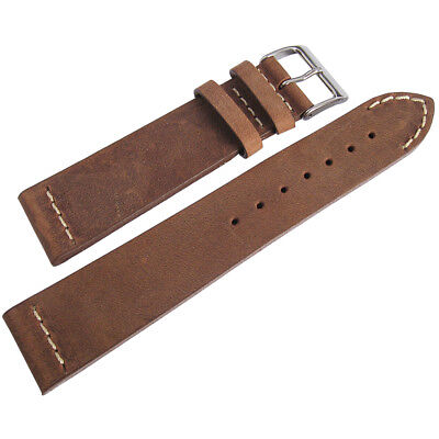 20mm ColaReb Venezia Tobacco Brown Leather Italy Made Aviator Watch Band Strap